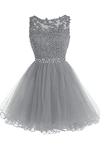 ivyd ressing robe Sweetheart col rond dentelle Mini Party Prom robe a ligne fixe robe robe du soir Silber