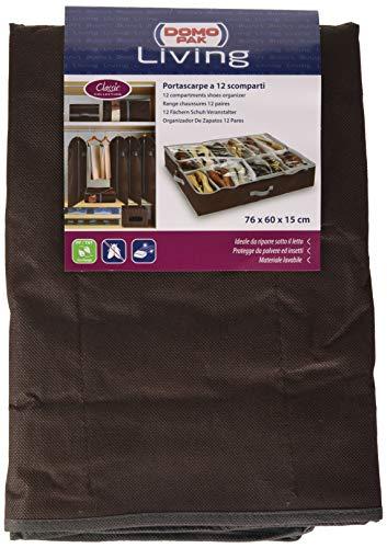 Domopak - Organizador de calzado para debajo de la cama tamaño grande, 12 compartimentos, color marrón...
