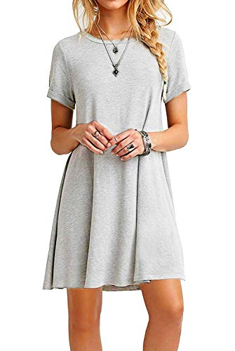 Basic T-tunika (Falechay Kleid Damen Sommerkleid Tunika Freizeitkleid Atmungsaktives Rundhals Kurzarm Knielang T-Shirtkleid Hellgrau-XL)
