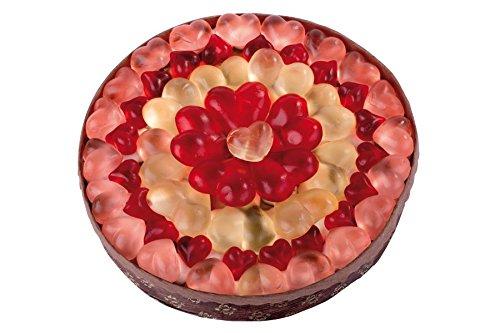 Die Herz-Torte als Geschenk, egal zu welchem Fest. Eine Fruchtgummi-Schaumzuckerware-Mischung in einer fruchtigen Torte zusammengefügt mit 18cm Durchmesser. 590g
