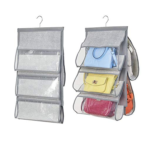 Mdesign set da 2 portaoggetti da appendere – un perfetto porta borse o scarpe– pratico portaoggetti in stoffa – contenitore portatutto – 5 tasche – colore: grigio con tasche trasparenti