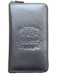 ABYS Black Premium Quality Leather Passport Wallet//Credit Card Holder//Cheque Book Holder With Metallic Zip Closure...