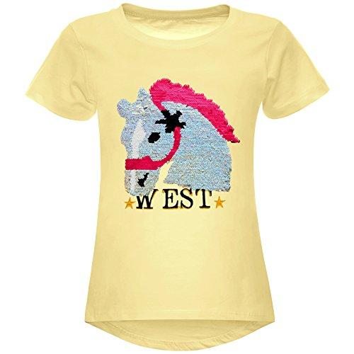 Mädchen Wende-Pailletten T-Shirt Pferd Motiv 22604 Gelb Größe 140