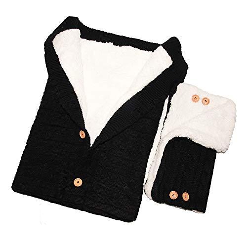 Schlafsäcke Baby Winter,Neugeborenes Baby Gestrickt Wickeln Swaddle Decke Kinderwagen Schlafsack für 0-24 Monat Baby (Schwarz Schlafsack+Handschuhe, 68x 40cm)