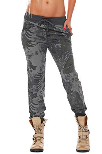 ZARMEXX Damen Sweatpants Sweathose Baumwollhose Jogger Jogginghose Freizeithose Relax Fit Damenhose Jungle-Print (Einheitsgröße: 38-42, Grau)