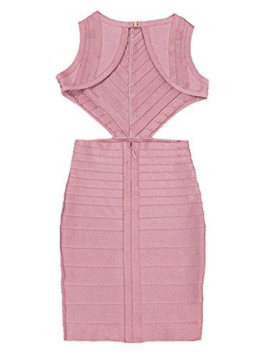 Alice & Elmer Damen Rayon Ausschnitt Backless Bandage Kleid Rosa