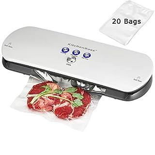 KitchenBoss Machine Sous Vide,Système Automatique de sous Vide, indicateur Intelligent de LED,Inclus 20 Pcs Sacs sous Vide (Blanc)