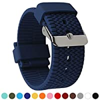 BarRan Tire Textured Surface Soft Silicone Quick Release Breathable Sport Replacement Watch Strap Watch Band - 18mm, 20mm, 22mm or 24mm - Choose Color & Width