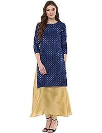 Ziyaa Women's Blue Coloured Foil Geometric Printed Cotton With Polysilk Aline Double Layered Festive Wear Kurta...