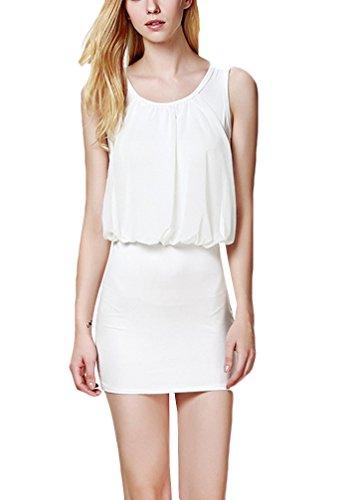 Damen Chiffonkleid Kurz Mit Ärmel A Linie Casual Durchsichtig Sommer Elegant Sommerkleider Freizeitkleider Weiß