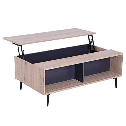 HOMCOM Couchtisch Beistelltisch Tischplatte höhenverstellbar ausklappbar Wohnzimmertisch mit Regal Staufach Holz Natur 100 x 58 x (39,3-52,7) cm - 3 Regal Eiche Tisch
