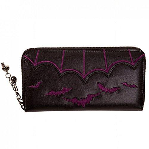 Banned Portafoglio Pipistrelli e ala tema nero gotico teschio con cerniera, donna Purse Black/Purple Taglia unica