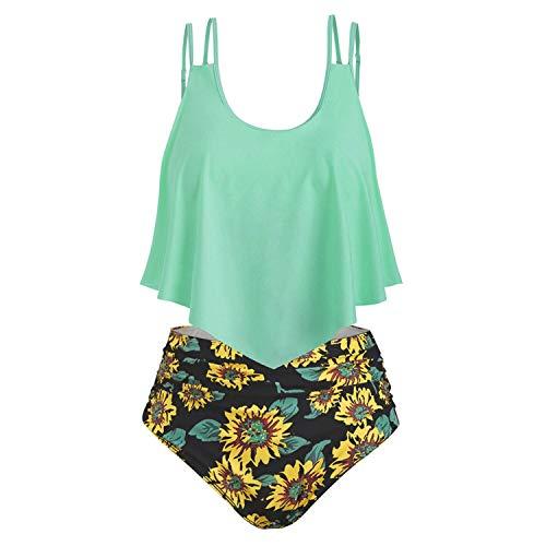 ♥ Loveso♥ Bikini High Waist Damen Bikini Set Push Up Volant Hohe Taille Tankini Set Bademode Badeanzug Sonnenblume Print Damenbekleidung 2 Pcs
