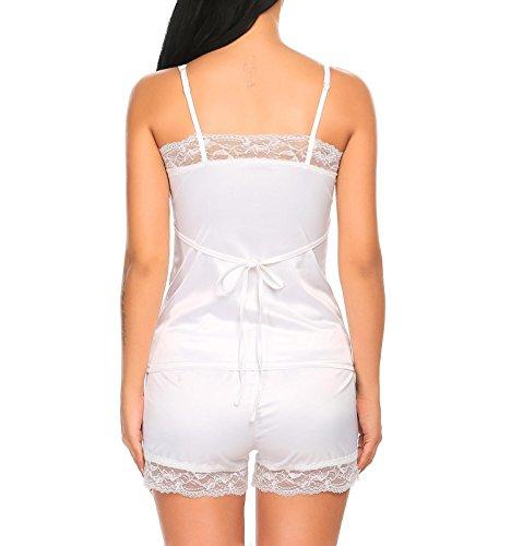 AIMADO Damen Satin Cami-Nachtwäsche Dessous Set Zweiteilige Reizwäsche Kurz Hose Schlafanzug Rückenfrei Pyjama Weiß