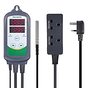 Inkbird ITC-308 Thermostat Digital Temperature Controller Thermostat Switch for Home Brew Greenhouse Heater Tube Heater Heat Mat Reptile Vivarium