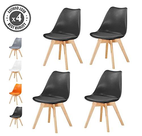 MCC Lot de 4 Chaise du Style DSW Inspire par Eames chaises Salle-à-Manger avec Assise rembourrée et Pieds en Bois de hêtre Massif, Usage Domestique/Commercial/EVA by (Noir)