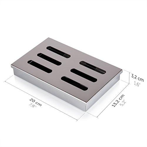 41W3rv3CzFL - Blumtal Smoker Räucherbox aus rostfreiem Edelstahl - Gas-Grillzubehör oder Holzkohlegrill, 20x13x3,5cm, Silber