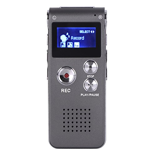 COOSA 8G / 16G alta registratore vocale digitale di qualità ad alta definizione del suono della penna di registrazione Intelligent HD Voice Audio Recorder dittafono vocale Voice Recorder USB ricaricabile dittafono registratore LCD con multifunzionale Digital Audio Registratore Digitale MP3 Musica Player-Registratore Ricaricabile con Altoparlante Incorporato, LCD Schermo,USB CONNESSIONE, Per Conferenza , Intervista e Incontro (8G, grigio)