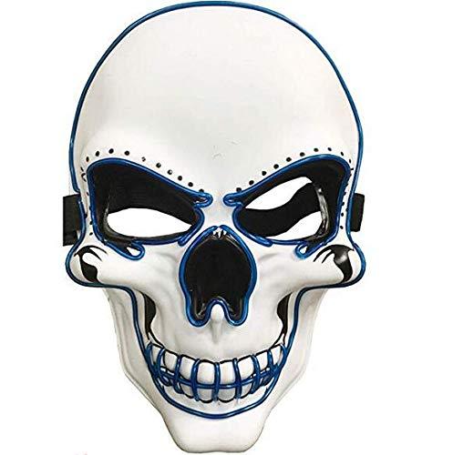 Halloween Kostüm Karneval - Charlemain LED Maske weiß, Totenkopfmaske,harmlose Halloween Maske mit 3 Blitzmodi für Halloween, Fasching, Karneval, Party, Kostüm Cosplay, Dekoration