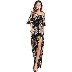 antaina Estampado de Flores Negro Dividir Hombro Largo Maxi Mujeres Vestido de Playa,S