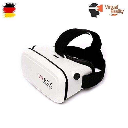 VR-3D Brille, Virtual Reality für 4,7 bis 6,5 Zoll Smartphone Modelle wie z.B. Samsung Galaxy S5, S6, S7,Edge Plus, iPhone 5, 6, 7, Plus und HTC M9, M10, One u.v.a., Neu