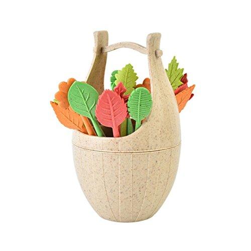 16pcs Blätter Formen Obst Gabel + 1 Stück Holzfass, Weizen Stiel Set Obst Gabel, Upxiang kreative Restaurant Esstisch Dekoration (C) -
