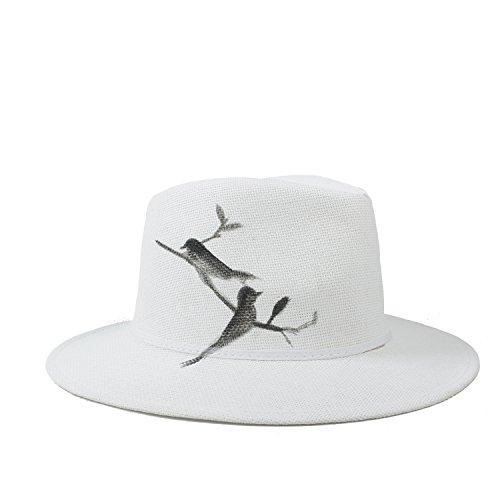 MTX-Sonnenhüte Hut- Fedora-Hut für Frauen mit Hand-gezeichnetem Vogel-Sommer Panama Hat Sun