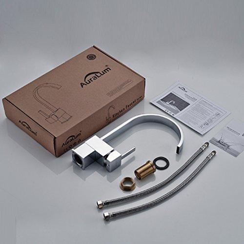 Auralum® Design Wasserhahn Hoher C-Auslauf Spültischarmatur Einhandmischer Küche Spüle -