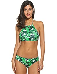 Ekouaer Damen Druck Bikini-Set Push up Badenanzug Blumendruck Neckholder Swimsuit Zweiteilig Schwimmanzug
