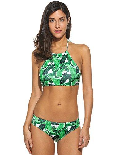 Ekouaer Damen Bikini-Set Blumendruck Bikini Push up Badenanzug Neckholder Swimsuit Gedruckt Zweiteilig Schwimmanzug, Größe EU 38(Herstellergröße: M), Farbe Grün