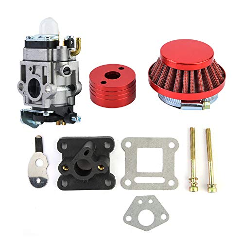 Suuonee Vergaser Kit, 15mm 33cc 43cc 49cc Vergaser Luftfilter Alloy Stack Goped Gas Roller EVO