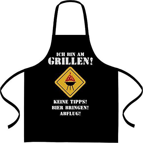 Coole Grillschürze mit Spruch - Ich Bin Am Grillen Keine Tipps Bier Abflug Kochschürze, Grillschürze, Latzschürze One Size Schwarz