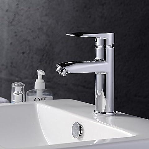 BFDGN Semplice Morden durevole e robusto il rame spazzolato per rubinetti lavandini bagno Il gettare il placcato foro singolo in acciaio inox a caldo e a freddo Rubinetti per lavandini bagno (Dare 1/2 Hot &a freddo dei tubi flessibili acqua )