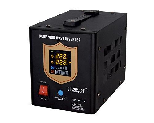 KEMOT urz3404b, Alimentation d'urgence Convertisseur Pur Sinus Fonction de Charge, 12 V, 230 V, 500 VA/300 W Noir