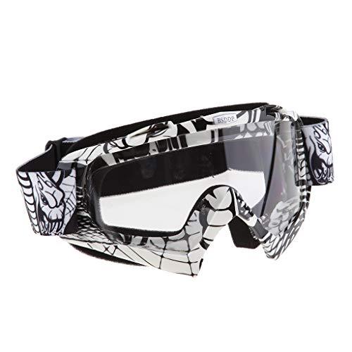 1 Stück Winddichte Brille UV400 Schutz mit Verstellbares Gummiband und Helm Kopf und Gesichtsbedeckungen - A017 Weißer Spiegel