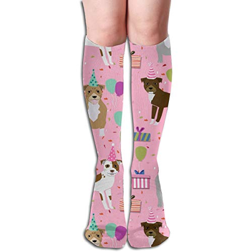 best gift Pitbull Birthday Mixed Dog Breed Men's Women's Cotton Crew Athletic Sock Running Socks Soccer Socks 19.7 inch Crazy Horse Gap