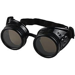 Amison Spezial- Jahrgang Stil Steampunk Brille Schweißen Punk Brille Cosplay (Schwarz)