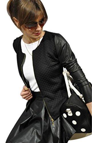 ZKOO Mujeres Casual Manga Larga Outwear Puntadas Color Sólido Jacket Outwear Negro L