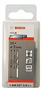 Bosch 2608597219 Foret à carrosserie laminé HSS-R DIN 1897 Ø 3 mm 10 pièces