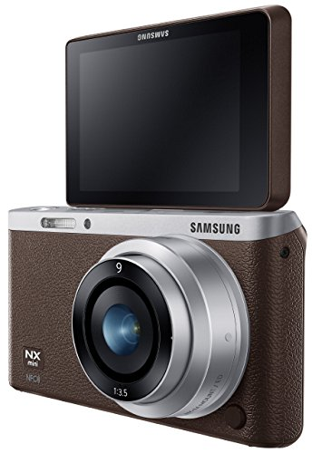 Samsung NX Mini 20.5MP CMOS Smart WiFi and NFC Compact Interchangeable Lens Digital Camera with 9mm Lens and 3-inch Flip-Up LCD Touchscreen (Brown), 16GB card with Free Samsung Backpack