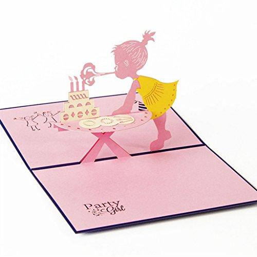 sunhoyu 3D Karte, Pop-up-Karte für Geburtstagskarte, Glückwunschskarten Gutscheinskarten Venlo Damenfahrrad,(1 Satz) Mädchen #