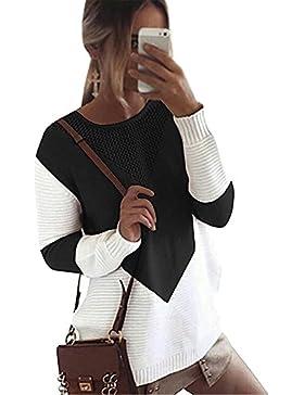 Minetom Mujer Otoño Invierno Suéter Jerseys de Punto Manga Larga Suelta Cuello Redondo Punto Jerséy Pullover Tops