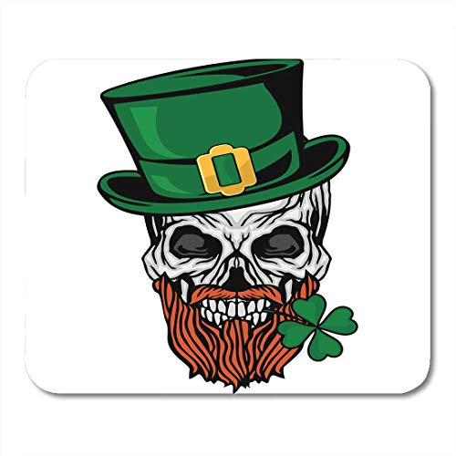 (Mouse Pads Halloween Green Tattoo Irish Skull with Clover Grunge Vintage Design Black Evil Cross Mouse Pad for Notebooks,Desktop Computers Mouse Mats, Office Supplies)