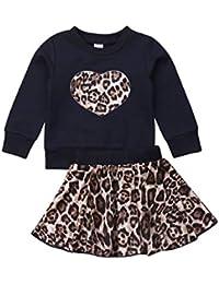Carolilly - Juego completo de 2 piezas de sudadera con capucha y estampado de leopardo + falda de leopardo