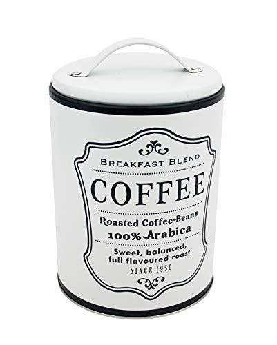 Impressionata Deko Vorratsdose Coffee aus Metall weiß Schwarz, 16 x 11 cm, Nostalgie Metalldose...
