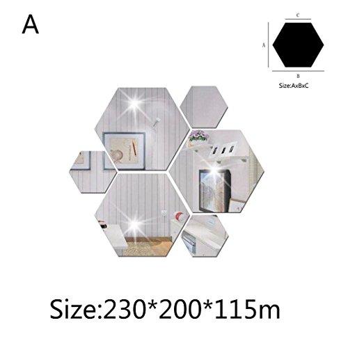 MMLC 7Pcs 3D Mirror Hexagon DIY Decorative Mirrors Self-adhesive Mosaic Tiles Mirror Wall Stickers Mirror Decal Home Decor (230*200*115mm)
