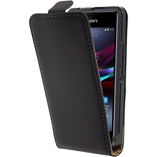 PhoneNatic Kunst-Lederhülle für Sony Xperia E1 Flip-Case schwarz + 2 Schutzfolien
