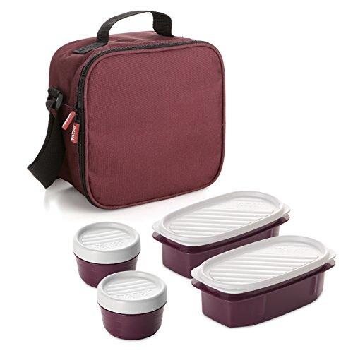 Tatay urban food burdeos - borsa termica porta alimenti con contenitori ermetici inclusi,rosso