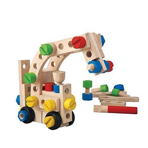 PlanToys - PT5534 - Jouet en bois - Jeu d'éveil - Jeu de Construction 60 Pièces