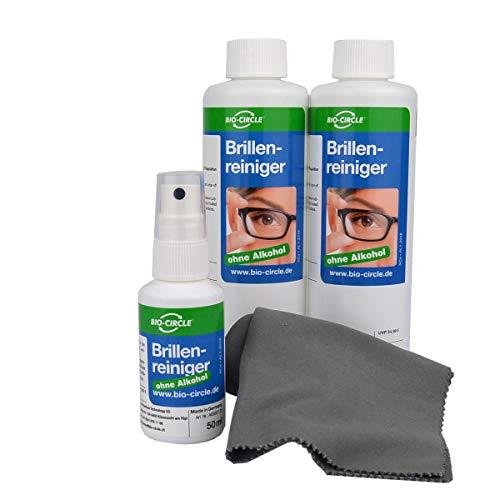 bio-chem Brillenreiniger Sparset 50 ml Sprayflasche + 2 x 250 ml (550 ml) Nachfüllflaschen + hochwertiges Mikrofasertuch